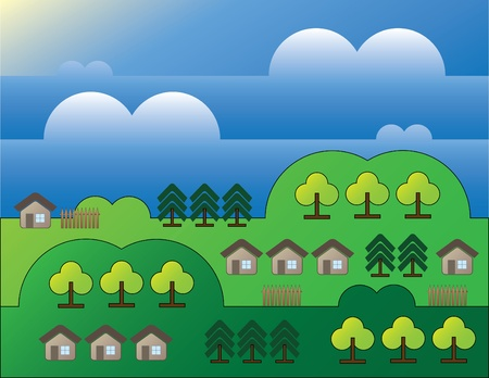 country landscape with trees and small houses background Stock Vector - 10828422