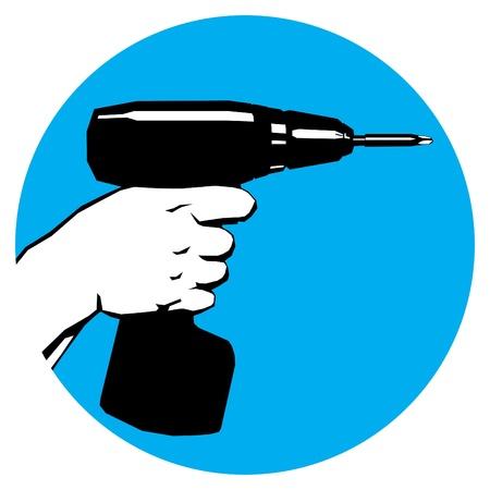 altes Plakat Style-Label mit Hand-und Bohrmaschine silhouette