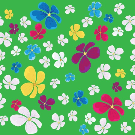 continued: seamless background with flying colorful flowers and green backdrop