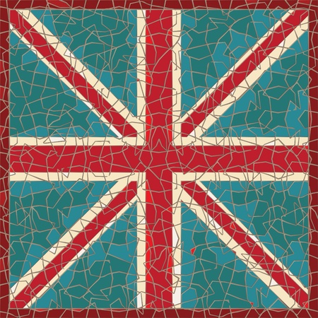 cracked colored fresco with great-britain flag Stock Vector - 10871195