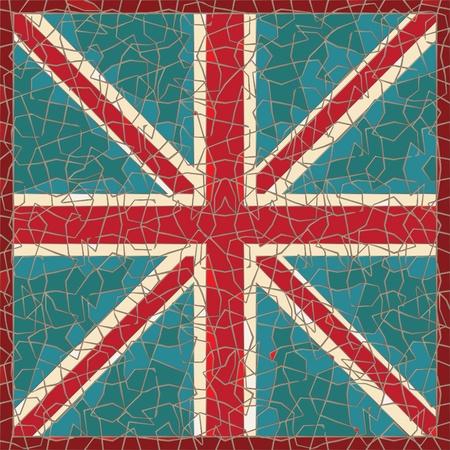 geknackt farbige Fresko mit Großbritannien Flagge Illustration