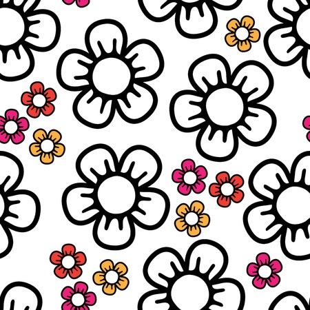 seamless background with big black and white and small colored abstract flowers Illustration