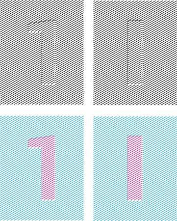 emboss: numeral characters emboss with assurer background. digit one Illustration