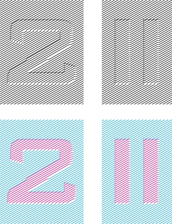 emboss: numeral characters emboss with assurer background. digit two Illustration