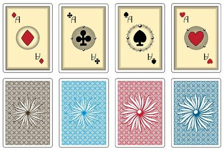 cartas de poker con el tamaño de los ases traje Ilustración de vector