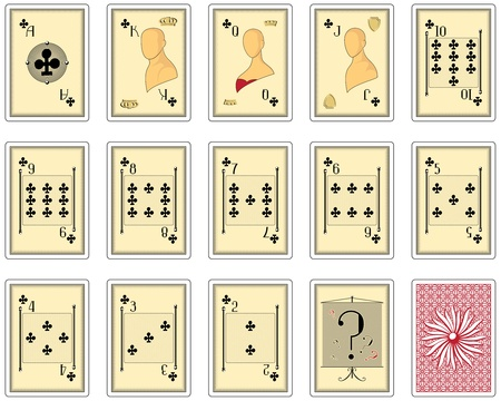 playing card: playing cards clubs suit. poker size Illustration
