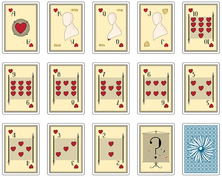 playing cards hearts suit. poker size Vector