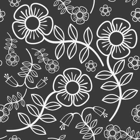 seamless black background with white flowers Vector