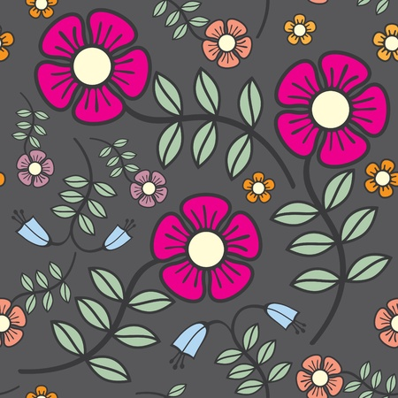 seamless background flowers in crayon shades Vector