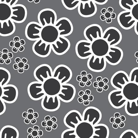 nahtlose Hintergrund mit großen und kleinen Blüten in Grautönen