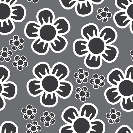 seamless background with big and small flowers in grey shades Illustration