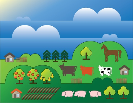 horizon over land: country landscape with trees and small houses background