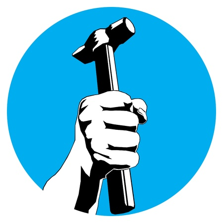 claw hammer: blue circle with hand with hammer  Illustration
