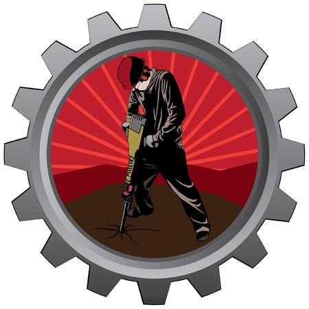 metal bage illustration of jackhammer construction worker eps 10 Vector