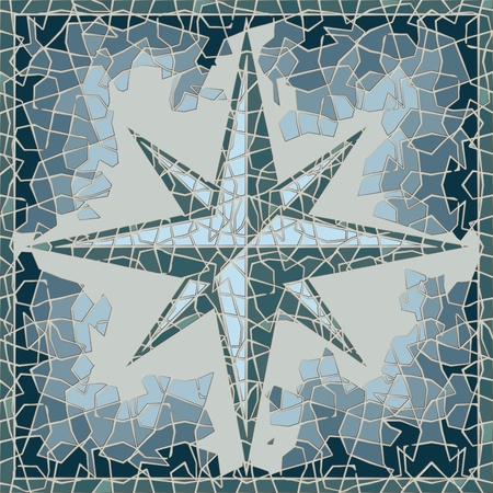 old west: cracked colored fresco with wind-rose in blue shades