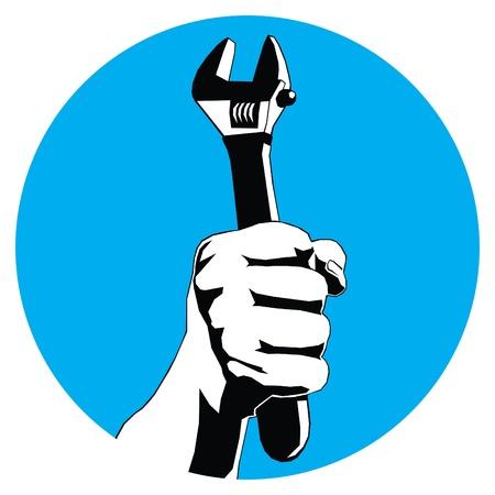blau Runde mit der Hand mit Schraubenschlüssel