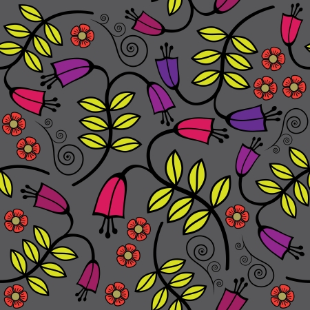 Vintage seamless background with colored bellflowers Vector