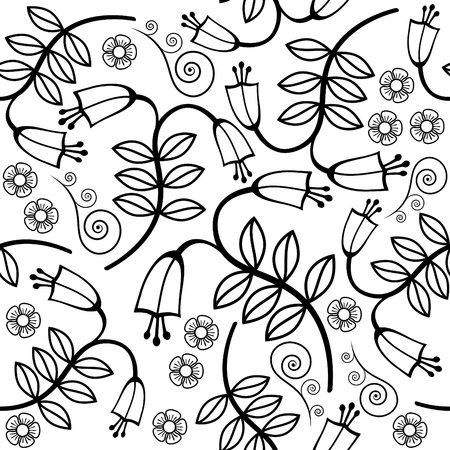 bell flower: Seamless background with bellflowers in black and white Illustration