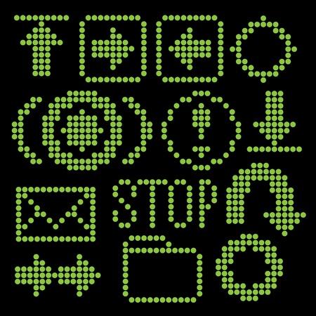 get up: Monocromatico fluorescente dot-based set di icone per le schermate di controllo e web design. pi� icone sono disponibili