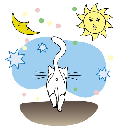 moon, sun and stars and cat walking on its own Vector