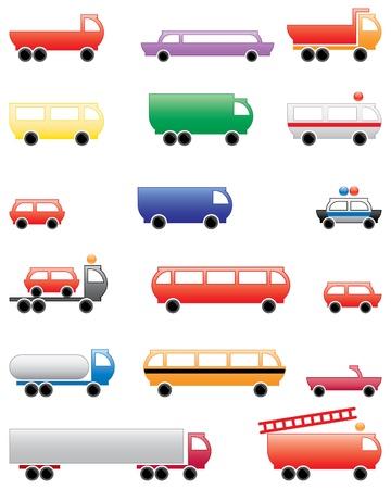 dumptruck: city transport equipment, symbols and design elements Illustration
