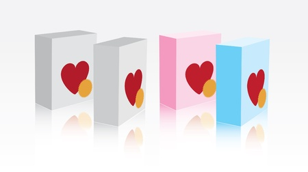 premise: white, pink and blue boxes with hearts on front side Illustration