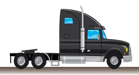 semi truck: cartoon style black mule