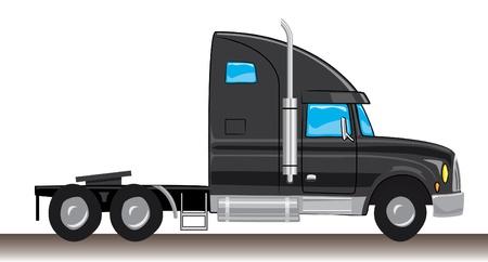 semi truck: estilo de dibujos animados negro mula