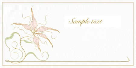 greeting card or invitation template. vintage floral background with bronze orchid, frame, space for text or image. Stock Vector - 11143009