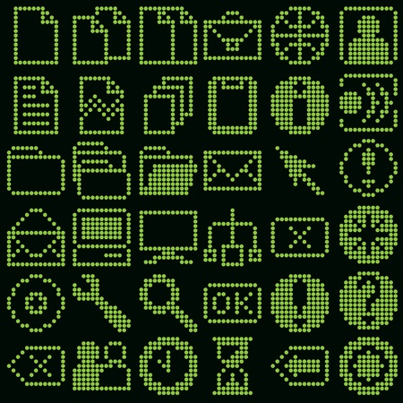 globe grid: monochrome fluorescent dot-based icon big set for control screens and web design. more icons are available Illustration