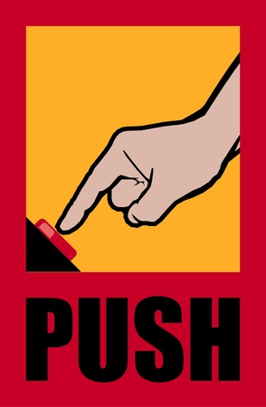 reference point: poster with forefinger and button Illustration