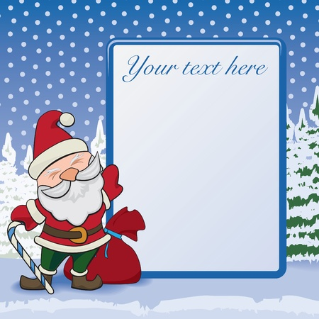 Standard-Druckformat Postkarte oder Grußkarte mit Weihnachts-Nacht, Sterne und Schneesturm auf bacdrop ??und der Weihnachtsmann auf den Vordergrund.