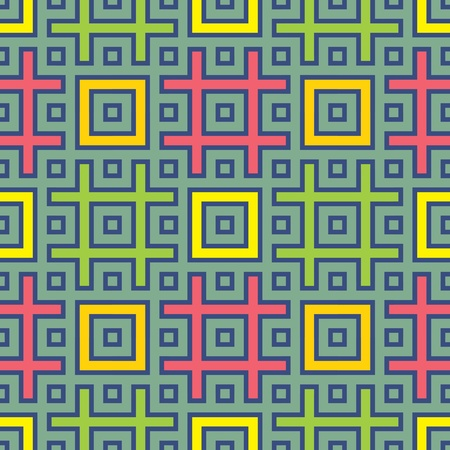 jointless abstract pattern with rectangles, lattice and green background, vector illustration Vector