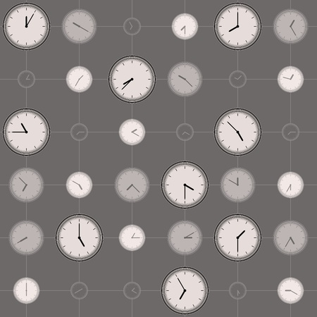 horologe: background with different sized clocks Illustration
