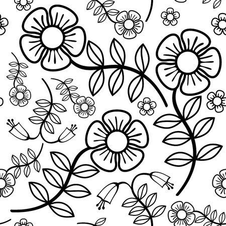 black and white floral seamless background Stock Vector - 11143003