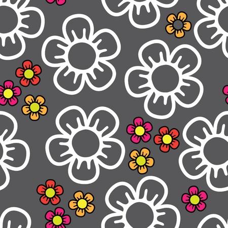 nahtlose Hintergrund mit großen weißen und kleinen farbigen abstrakten Blumen auf drak Hintergrund