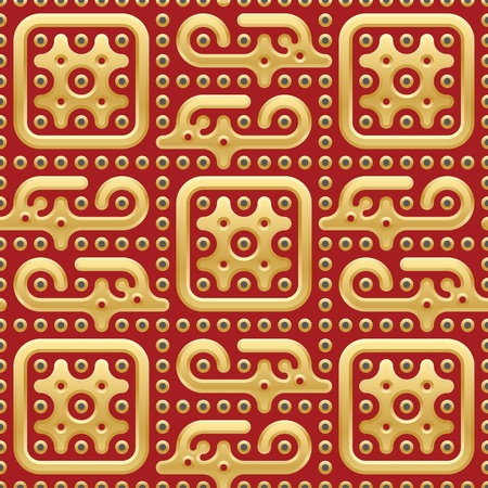 oriental background with golden creatures and plates on red backdrop. vector illustration Vector