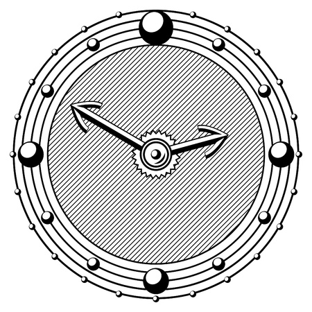 timekeeper: old engraving style timepiece black and white vector eps 10