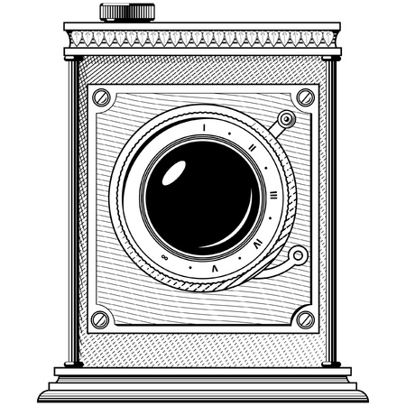 visionary: imaginable vintage photo camera in black and white