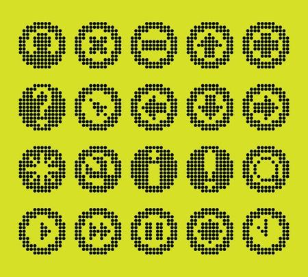 Monochrom-fluoreszierenden Punkt-basierte Symbol für die Steuerung Bildschirme und Web-Design gesetzt. Weitere Symbole stehen zur Verfügung