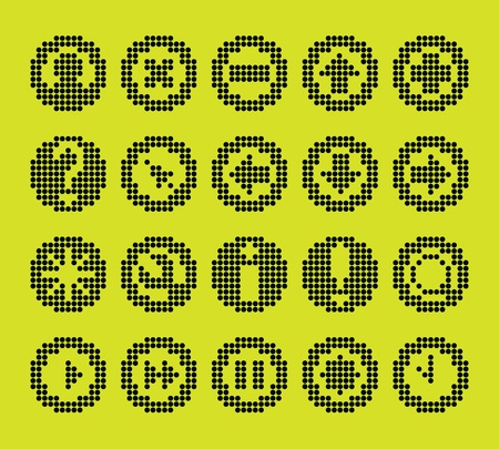 monochrome fluorescent dot-based icon set for control screens and web design. more icons are available Vector