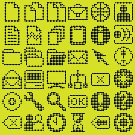 monochrome fluorescent dot-based icon big set for control screens and web design. more icons are available Vector