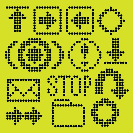 reverse: monochrome fluorescent dot-based icon set for control screens and web design. more icons are available
