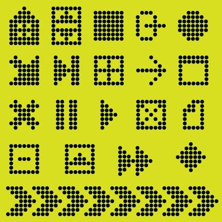 monochrome fluorescent dot-based icon set Illustration