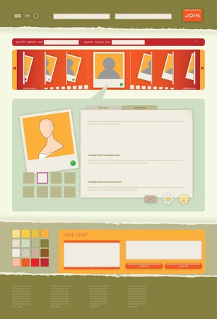 photo, video blog or dating service interface template in summer shades Vector