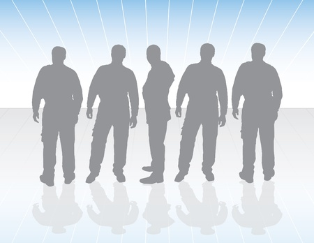 ideograph: five silhouettes of workers with sunrise background Illustration