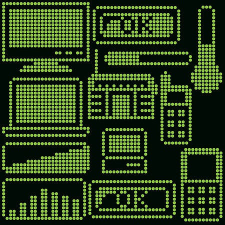 monochrome fluorescent dot-based icon set with gadgets for control screens, terminals, info screens and web design. more icons are available Vector