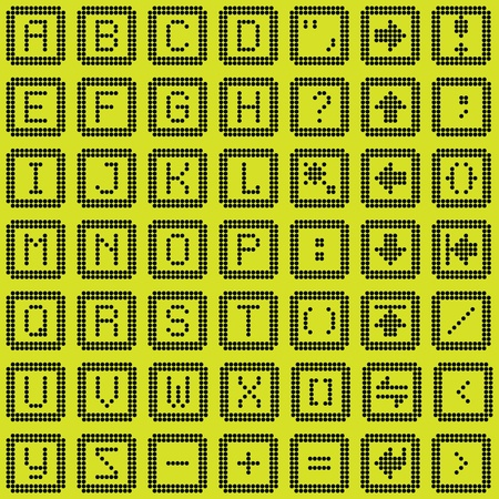 typer: monochrome fluorescent dot-based keyboard icons set for control screens and web design. more icons are available. vector illustration Illustration
