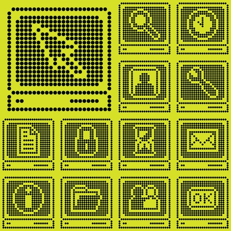 Monochrome Fluorescent Dot Based Icon Set With Terminal Symbol
