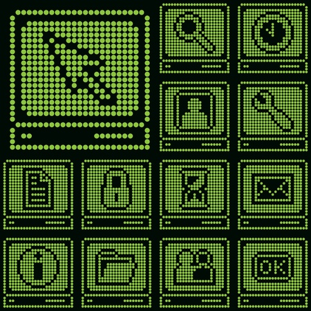 monochrome fluorescent dot-based icon set with terminal symbol for control screens, terminals, information boards and web design. vector illustration. more icons are available. Stock Vector - 11276168
